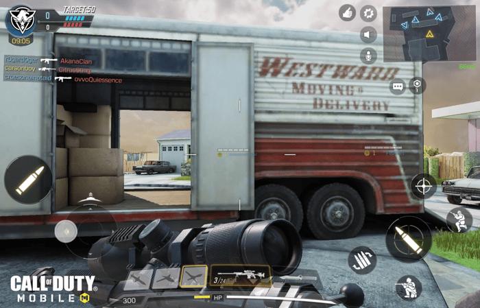 Capture d'écran du gameplay dans Call of Duty: Mobile.