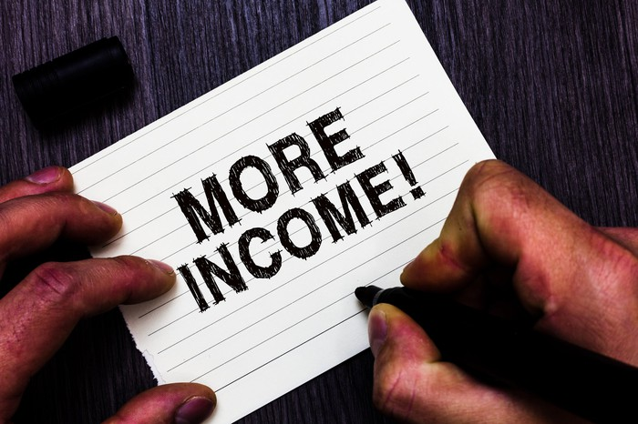 A right hand writing the words More Income, with an exclamation mark, on an index card.