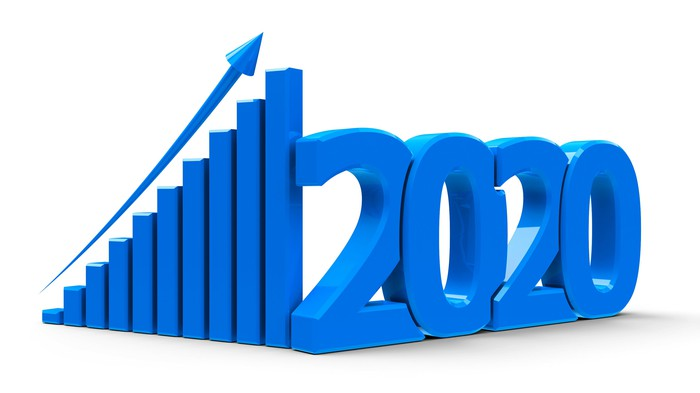 A 3D bar chart with an arrow going up and the number 2020