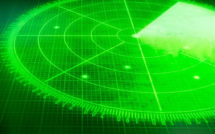 Green radar screen with multiple blips