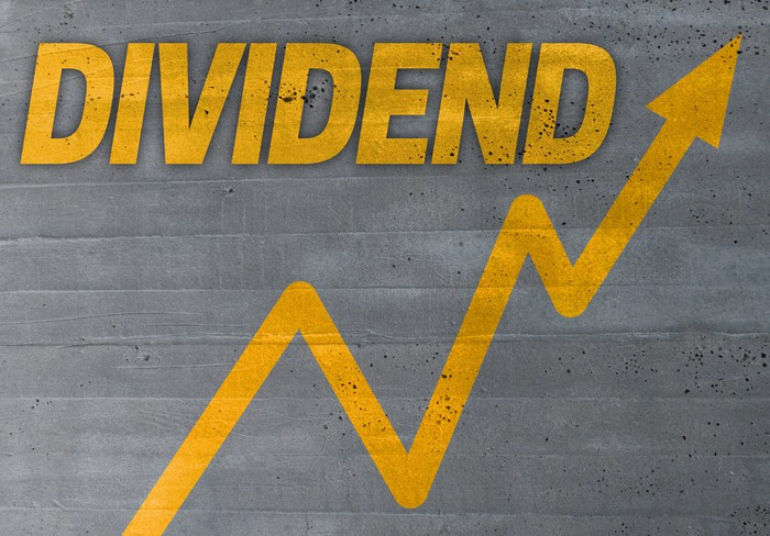 The word dividend in yellow with a jagged rising graph below it