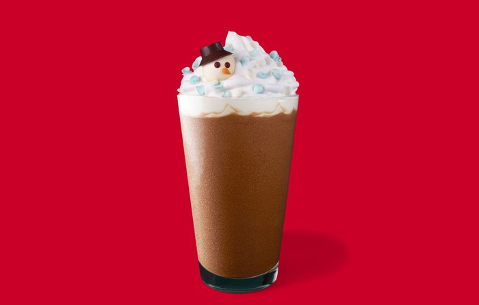 A coffee drink with whipped cream and a small snowman