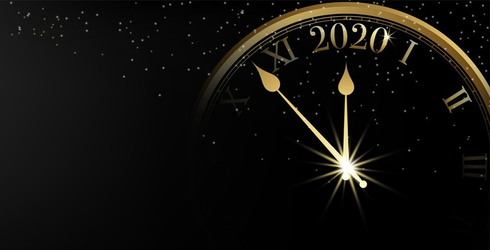 2020 Happy New Year banner on black background and sparkle bokeh with gold clock
