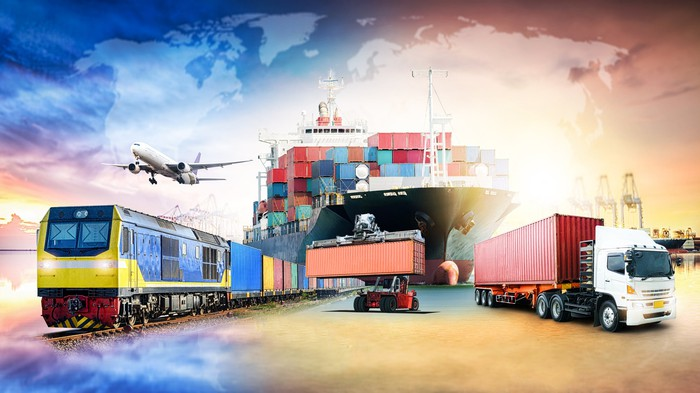 Various forms of transport, including a freight train, a jet plane, a container ship, and a semitrailer truck