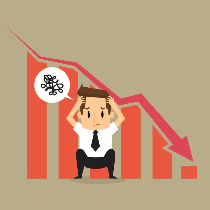 A cartoon of a man in a suit holding his head, squatting in front of a declining stock chart.