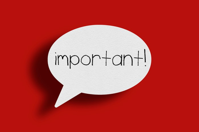 A white speech bubble with the word important on a red background.