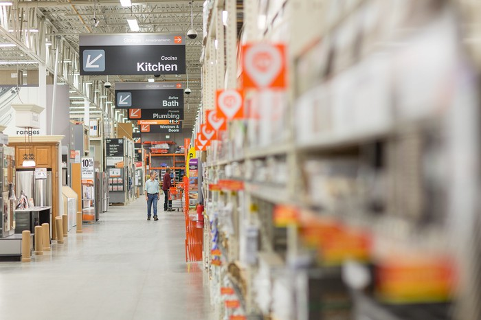 An aisle in a Home Depot store.