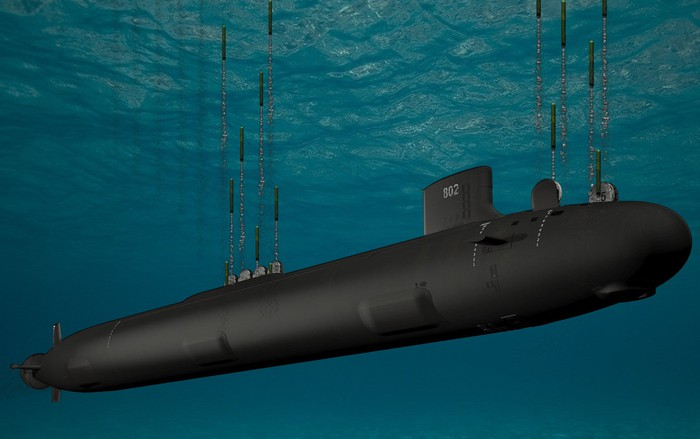 An illustration of a submarine underwater, deploying its weapons