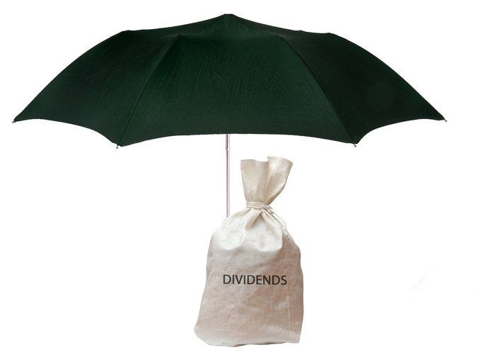 "Bag with ""dividends"" printed on it underneath an umbrella"