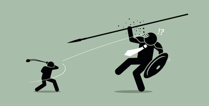 Cartoon of David defeating Goliath
