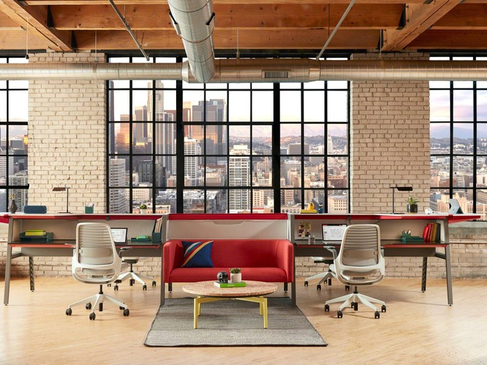 A city loft furnished in relaxed style for a start-up company.