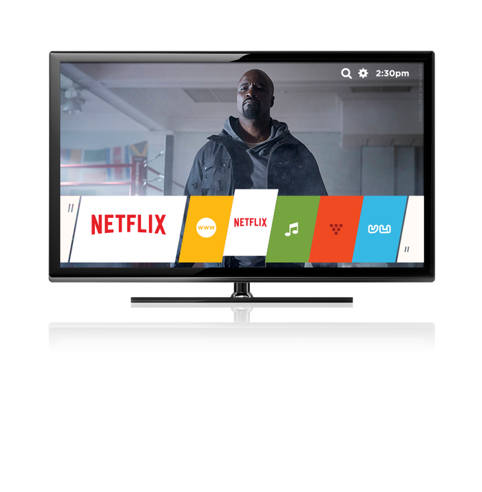 A TV featuring the Netflix logo and a screenshot of one of its shows