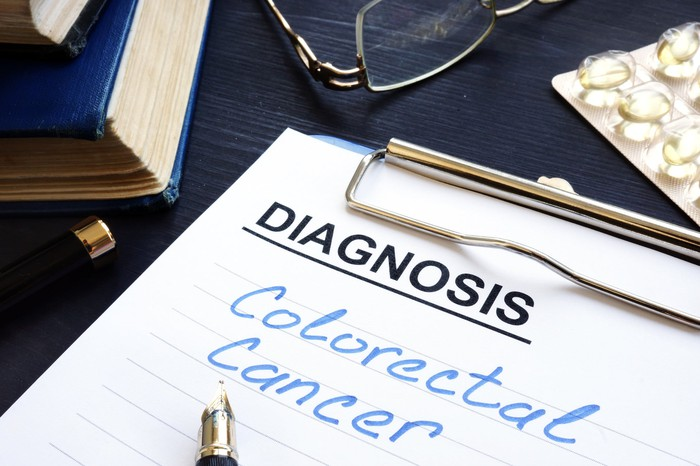Diagnosis notepad with Colorectal Cancer in blue ink
