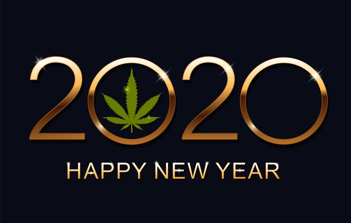 "2020 with a cannabis leaf in the first zero and ""happy new year"" underneath the year"