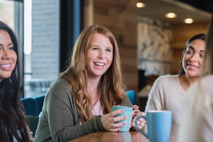 Three women meet for coffee