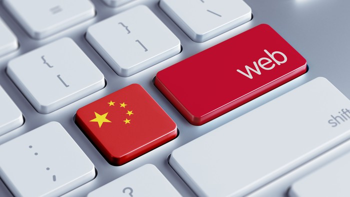 """Two adjacent computer keys, one featuring a Chinese flag and the word """"web""""."""