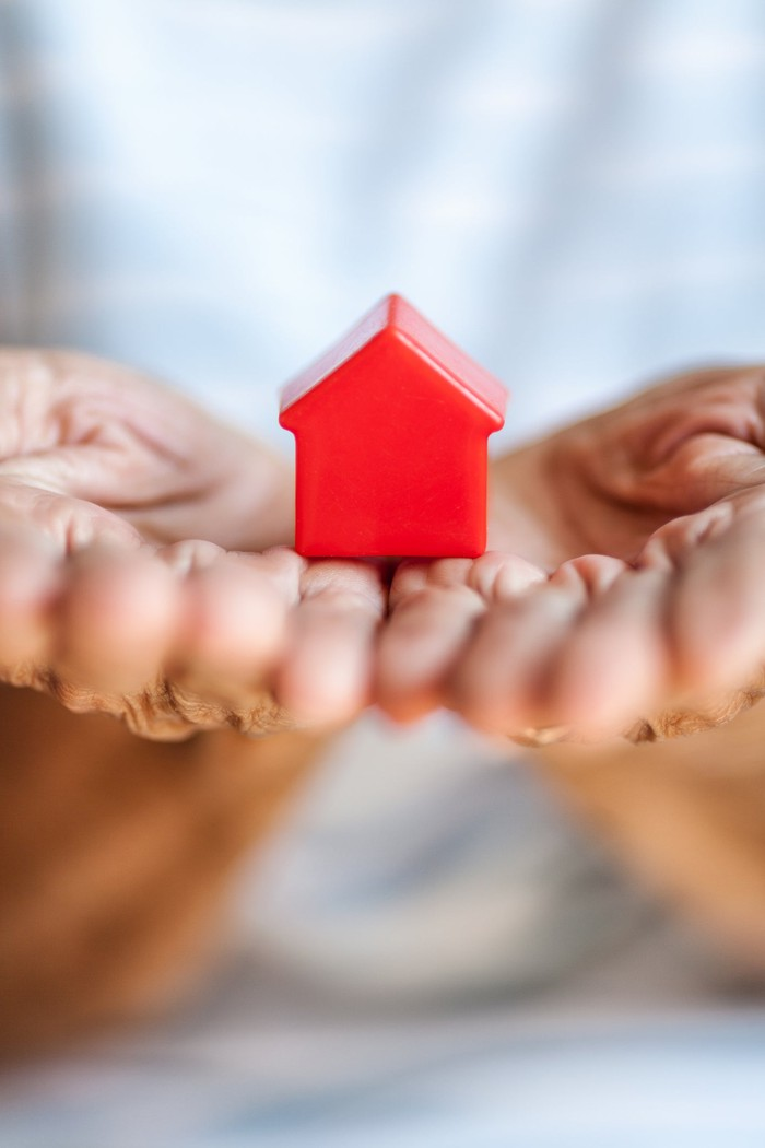 Person holding small red house in their hands.