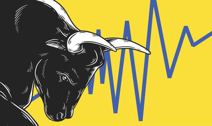 A cartoon bull with its head bowed next to a volatile stock chart behind him.