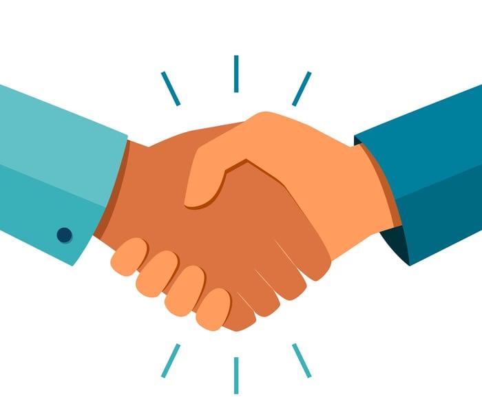 Cartoon image of handshake