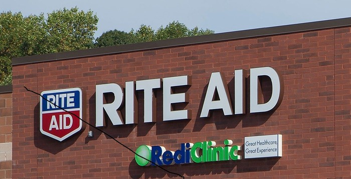 Side of store showing Rite Aid logo.