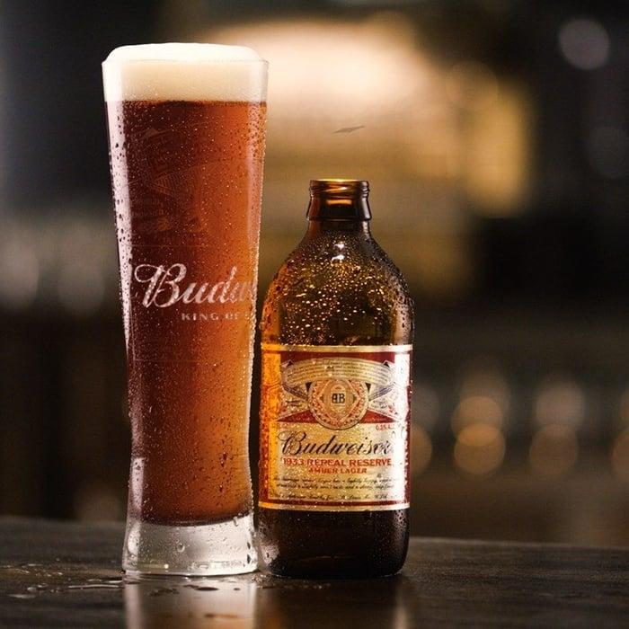 Tall Foamy Glass of Budweiser Beer
