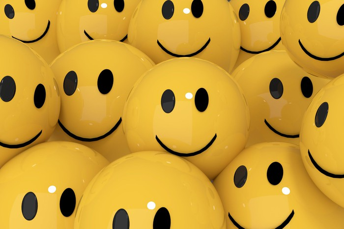 A crowd of yellow smiley-face balls