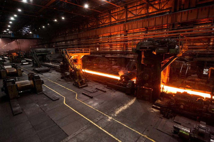 Interior shot of a steel mill.