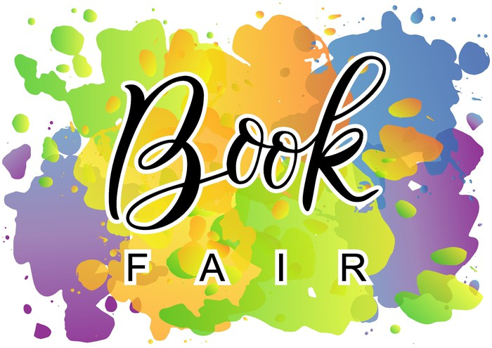 Words book fair printed on a background of splattered paint