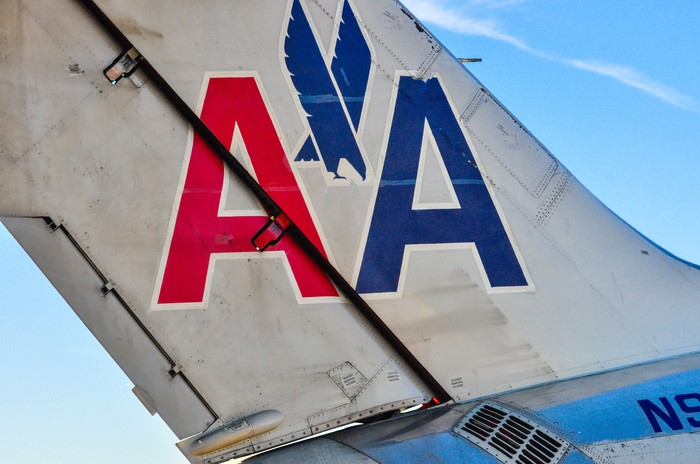 The tail of a retired American Airlines MD-80 aircraft.