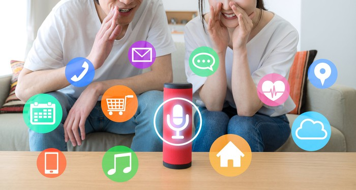 A couple uses a smart speaker at home.