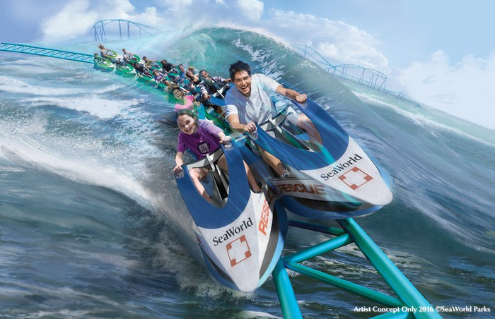 Artist concept art for the Wave Breaker coaster at SeaWorld San Antonio with riders gliding over the water.