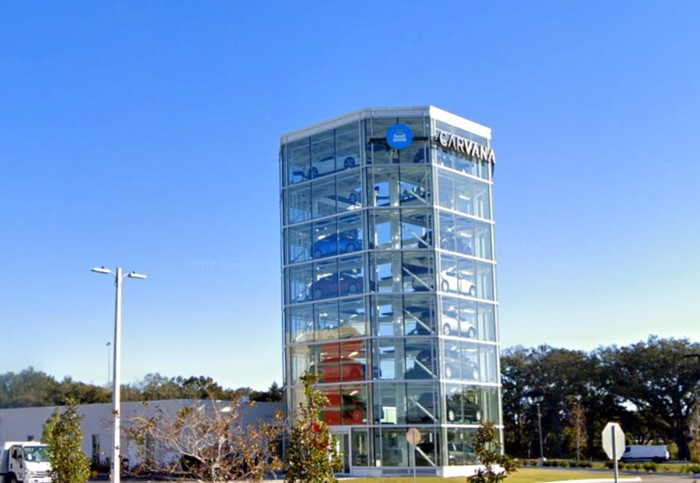 A Carvana vending tower in Tampa, Florida.