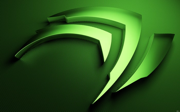 A computer rendering of a green Nvidia logo.