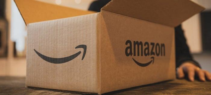 An open Amazon box on a table