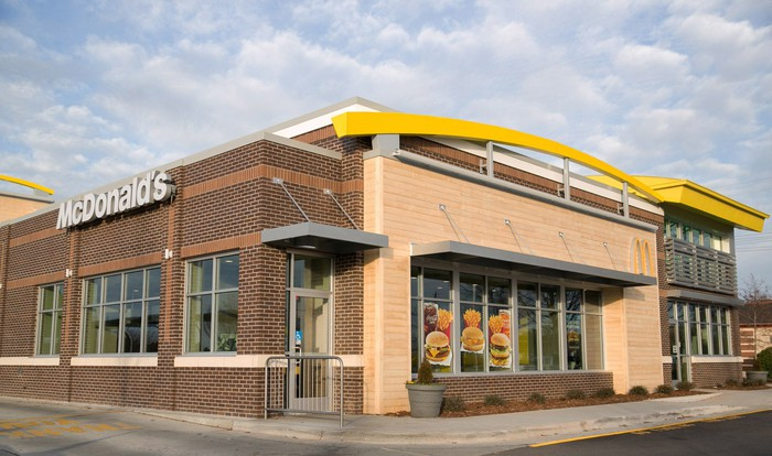 Exterior of remodeled McDonald's restaurant.