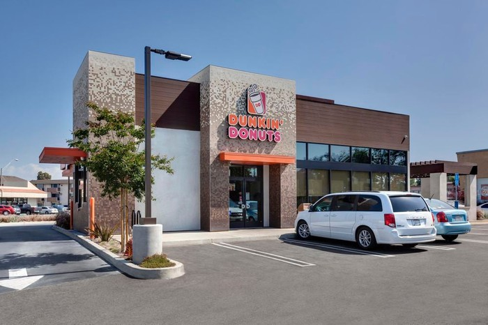 The exterior of a Dunkin'.