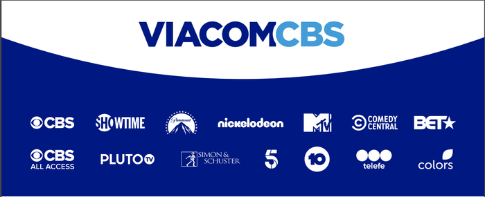 The ViacomCBS logo and the logos of its various assets and channels below it.