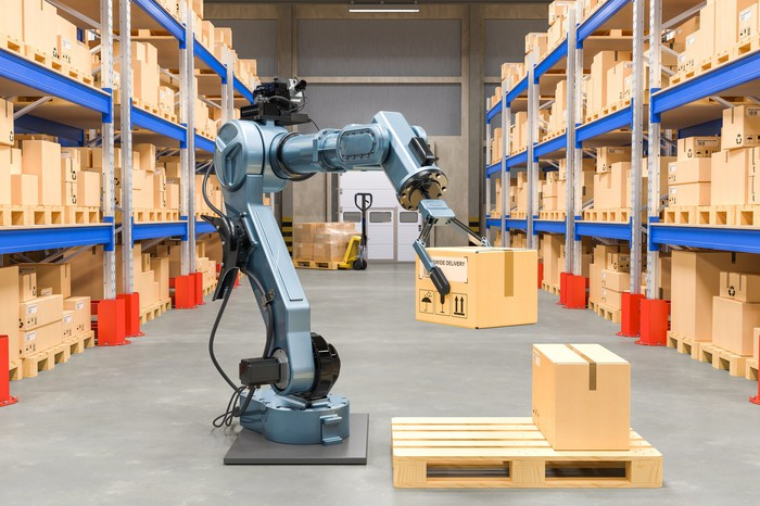 A robot working in a warehouse