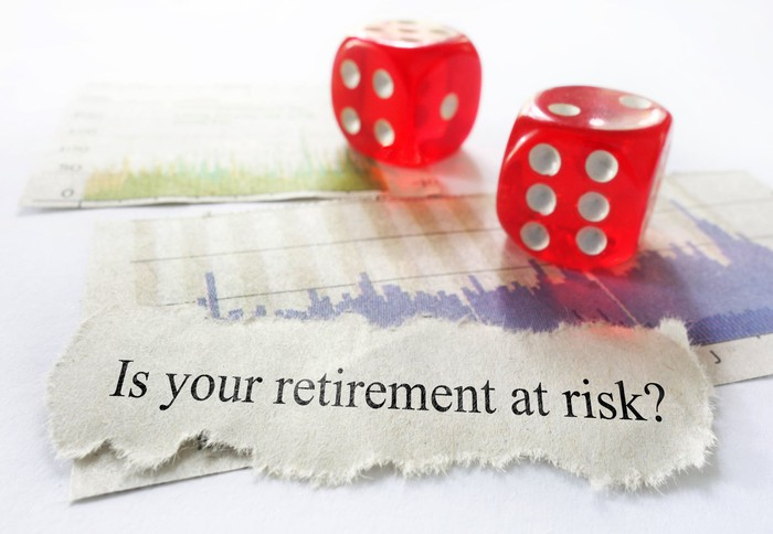 Two red dice sit next to a paper on which is printed is your retirement at risk?
