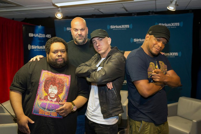 Eminem on the set of his Shade 45 with his guests.