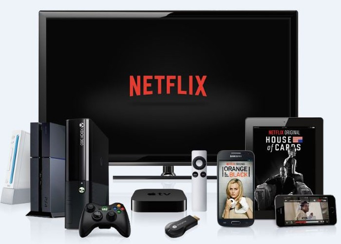 An assortment of devices set up to stream Netflix shows.