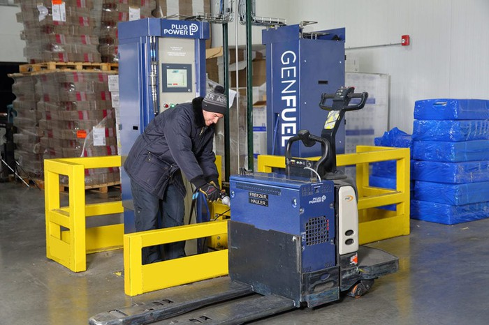 Fork lift powered by Plug Power's hydrogen fuel cell