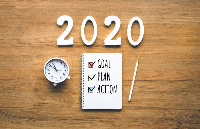 A pad with check marks for goal, plan action next to a clock and 2020.