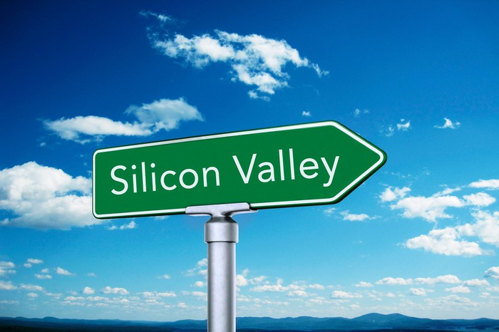 Road sign pointing to Silicon Valley.