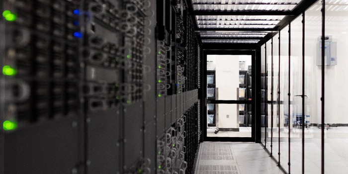 A row of servers in a cloud data center.