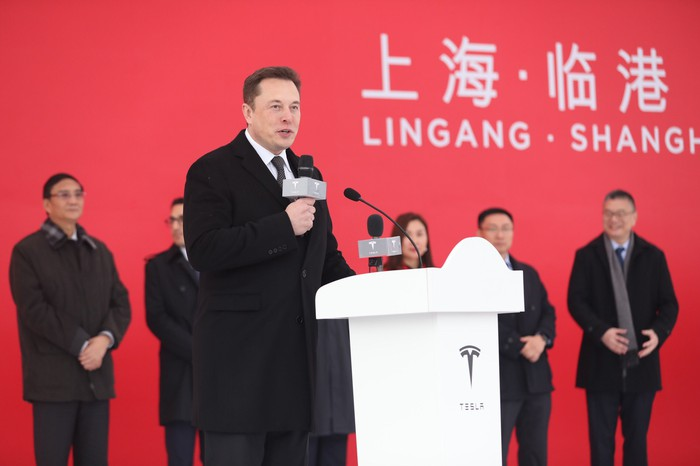 Tesla CEO Elon Musk at the groundbreaking event for Tesla's Gigafactory 3 in China