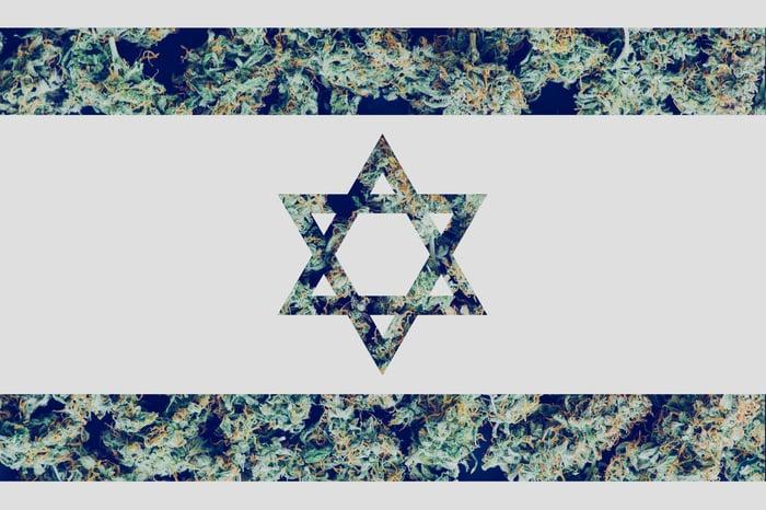 An Israeli flag design superimposed over marijuana flowers.