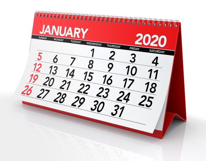 A desk calendar for January 2020