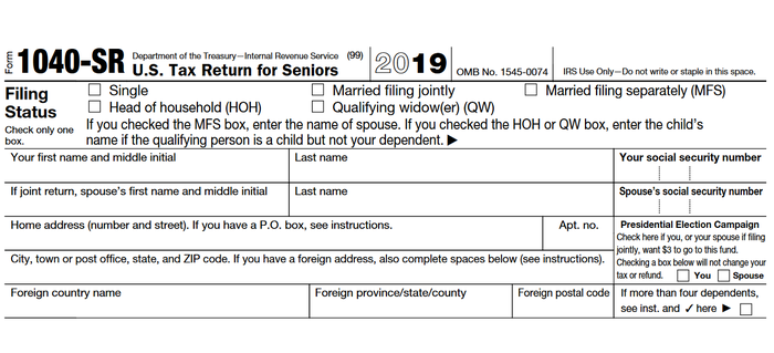 Top of front page of Form 1040-SR.