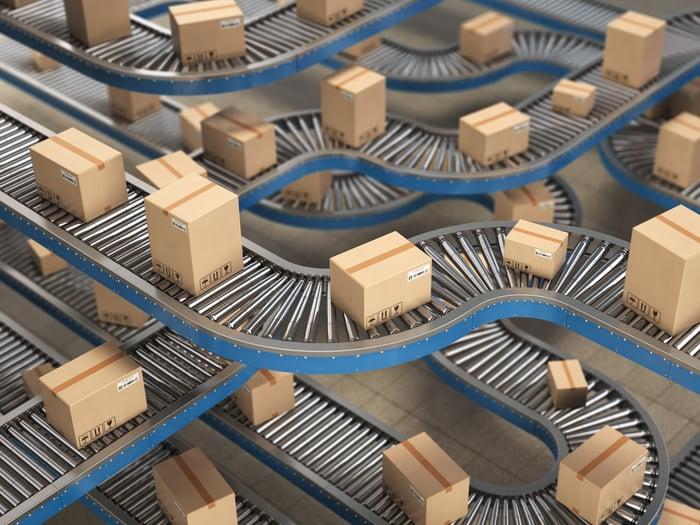 Boxes on a conveyor belt.